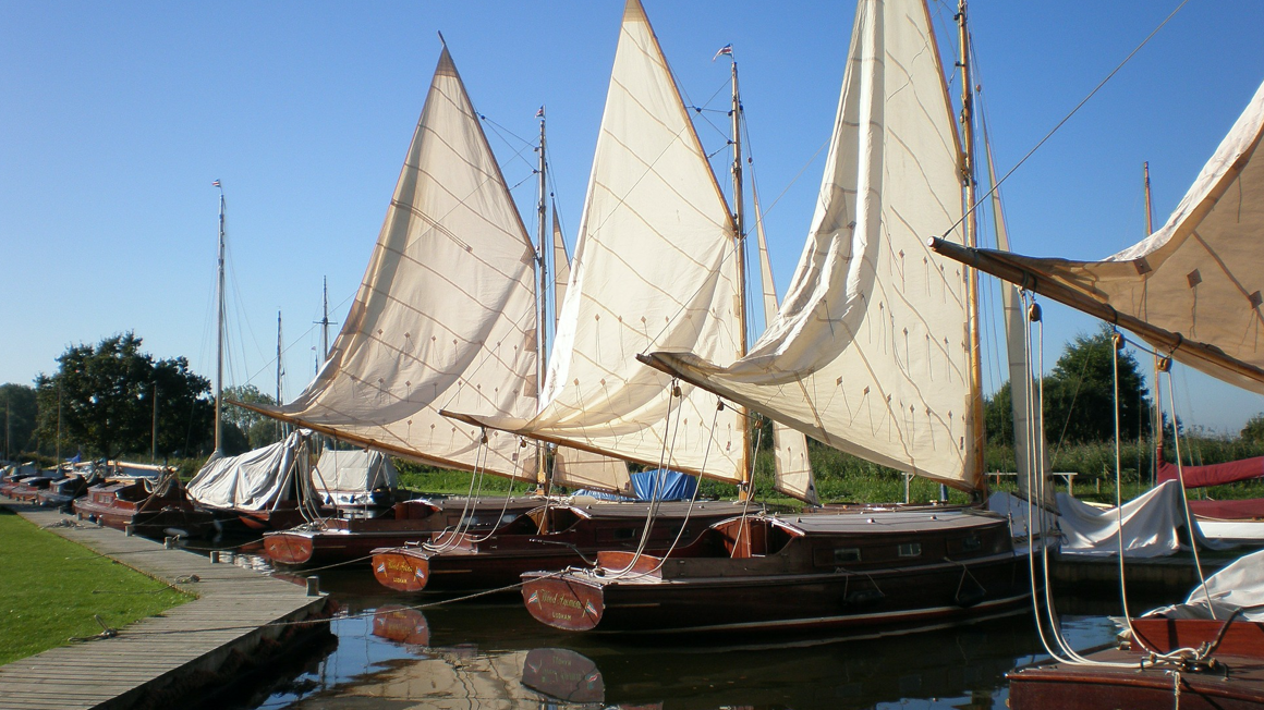 Boats docked in Nortfolk broads